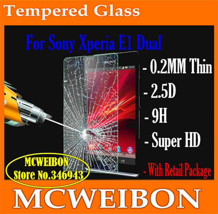 0.2mm tempered glass screen protector de pantalla Lcd cover projector For Sony Xperia E1 Dual,mobile protective film to phone(China (Mainland))