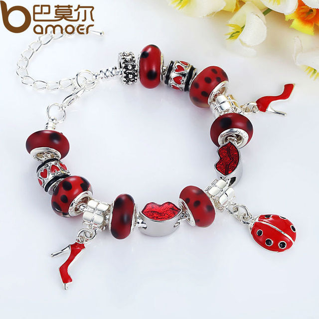 Fast Shipping wholesale silver Plated bead Charm Bracelet for women European Style Handmade Silver jewelry PA1198