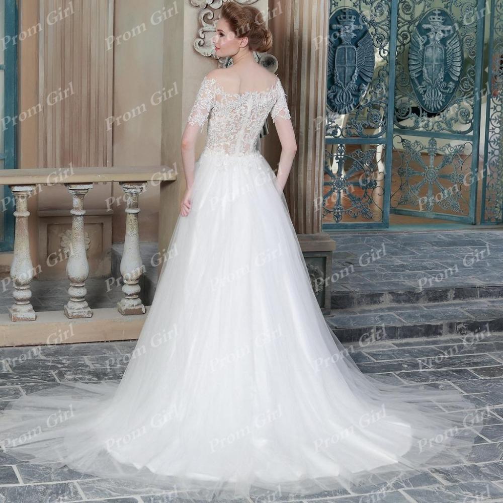 Half sleeve wedding dress long a line strapless of the for Half sleeve wedding dress