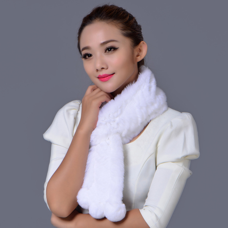 Autumn Winter Fashion Warm 100% Otter Rabbit Fur Scarves, Women's Hairball fur Scarf High-end Furs Accessories 4 Colors - iFashion Forward store
