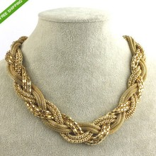 2014 New Unique Choker Necklace Charming Braided Fashion Shimmering Golden Lovely Weave Rolling Free Shipping(China (Mainland))