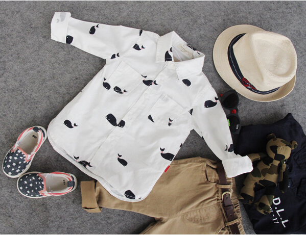 2-8Y new 2015 high quality boys fashion cartoon print dolphin shirt boys spring autumn clothing kids shirt(China (Mainland))