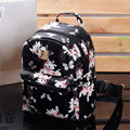 Women Cute School Bags Backpack Mini 2016 Fashion Back Pack Floral Printing Black Small PU Leather