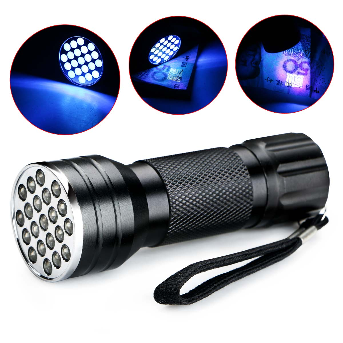 NEW Aluminium Invisible Blacklight Ink Marker 21LED 21 LED UV Ultra Violet 395nm Flashlight Torch Light Lamp For 3AAA(China (Mainland))