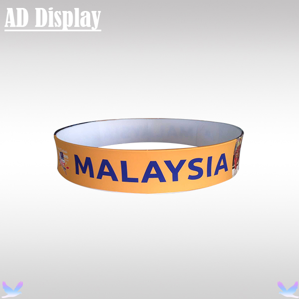 10ft*2ft Trade Show Booth Advertising Display Tension Fabric Circle Hanging Banner Stand With Single Side Full Color Printing(China (Mainland))