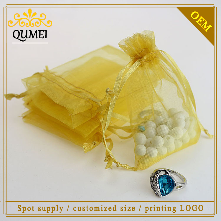 7x9cm Gold Organza Jewelry Popular Gift Bags Small Packaging Bags Tea Storage Bags Customde Logo Printing 100pcs/lot Wholesale(China (Mainland))