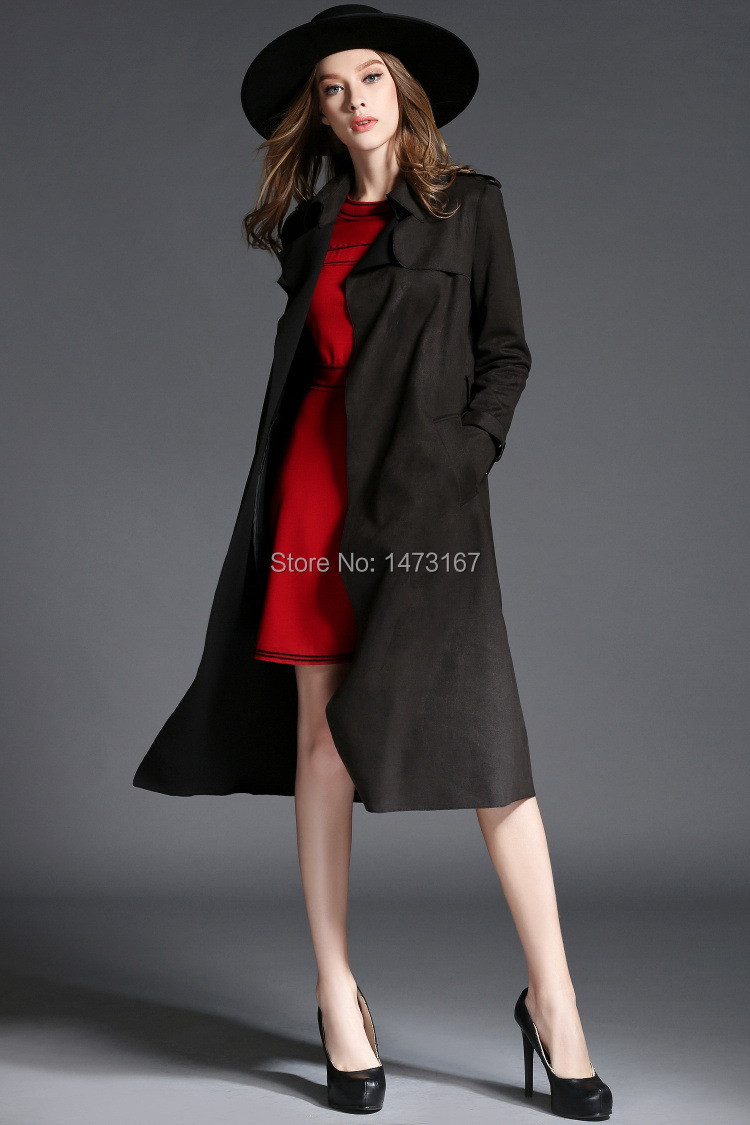 2015 autumn fashion brand suede lonh trench coat S~XL size Adjustable Waist dustcoats for woman(China (Mainland))