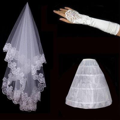 Cheap 2016 Wedding Veil Gloves Petticoat Bride Dress Wedding Accessories Bridal Gloves Women White Ivony Imilation Silk Flower(China (Mainland))