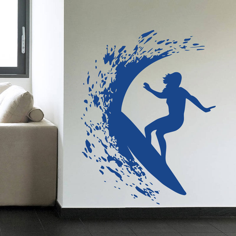 Surfer Girl Woman Surfing Removable Wall Decal Art Mural Sport Home Decor Wall Sticker(China (Mainland))