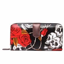 Wholesale Women Girls Halloween Flower Skull Rose Purse Long Purse Coin Wallet Handbag Hand Bag Gift Waterproof Oilcloth(China (Mainland))