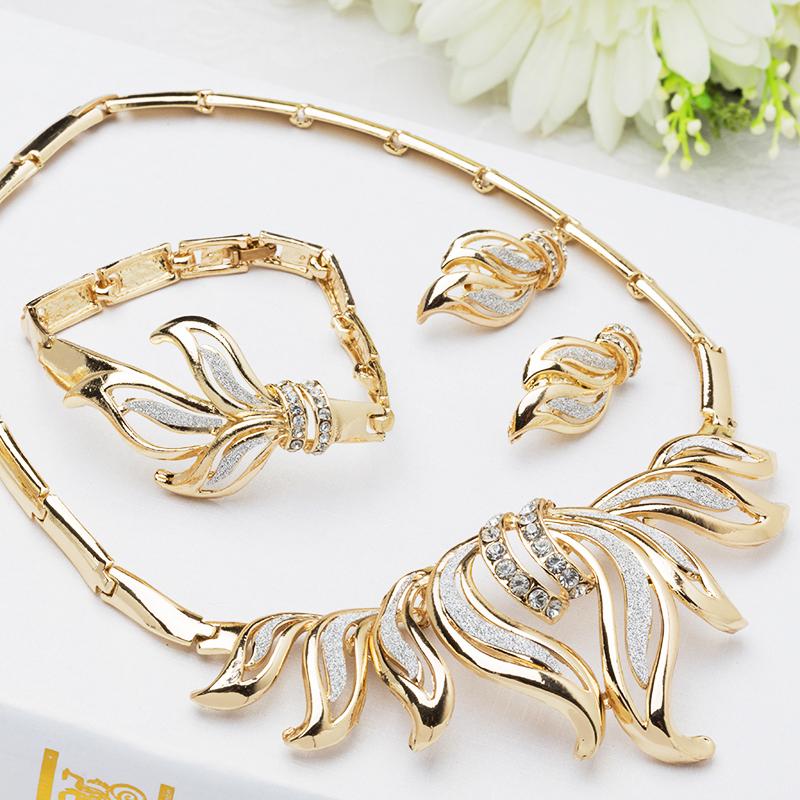 African Jewelry Sets 18K Gold Plated Nigerian Wedding beads Women Crystal Bridal Set J060 - Verynice store