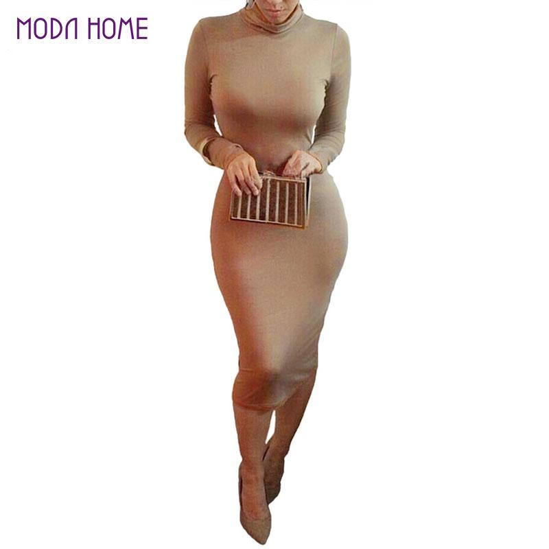Women Sexy Club Dress 2016 Turtle Neck Long Sleeve Winter Dress Pencil Dress Slim Hip Bandage Bodycon Dress Vestidos Clubwear(China (Mainland))
