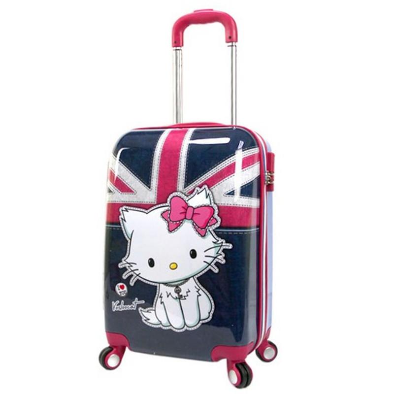 YISHIDUN ABS+PC 12 20 inchBritish lovers luggage case rolling suitcase bags draw bar box women travel Girls trolley bag bolsos - RED MAO store