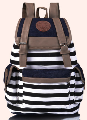 2015 Korean style women girl striped canvas backpack leisure string school backpacks teenagers travel rucksack mochila escolar<br><br>Aliexpress