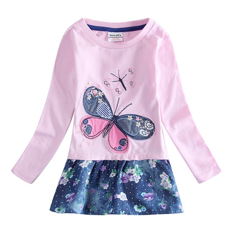 Fashion Kid Girl's Floral Dress Winter Spring New Girls Butterfly Flower Dresses children Clothes Vestidos Clothing infantil(China (Mainland))