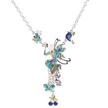 Bonsny ماكسي سبائك فراشة الجنية المينا المجوهرات الملونة قلادة 2016 جديد مجوهرات الأزياء للنساء بيان سحر(China)