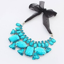 Star Jewelry New Choker Fashion Necklaces For Women 2014 Statement Candy Color Color Stone Geometric Fake
