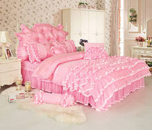4/6/8pcs white pink Jacquard Satin bedding set king queen full twin Luxury Tribute Silk quilt/duvet cover bed linen bedclothes s(China)