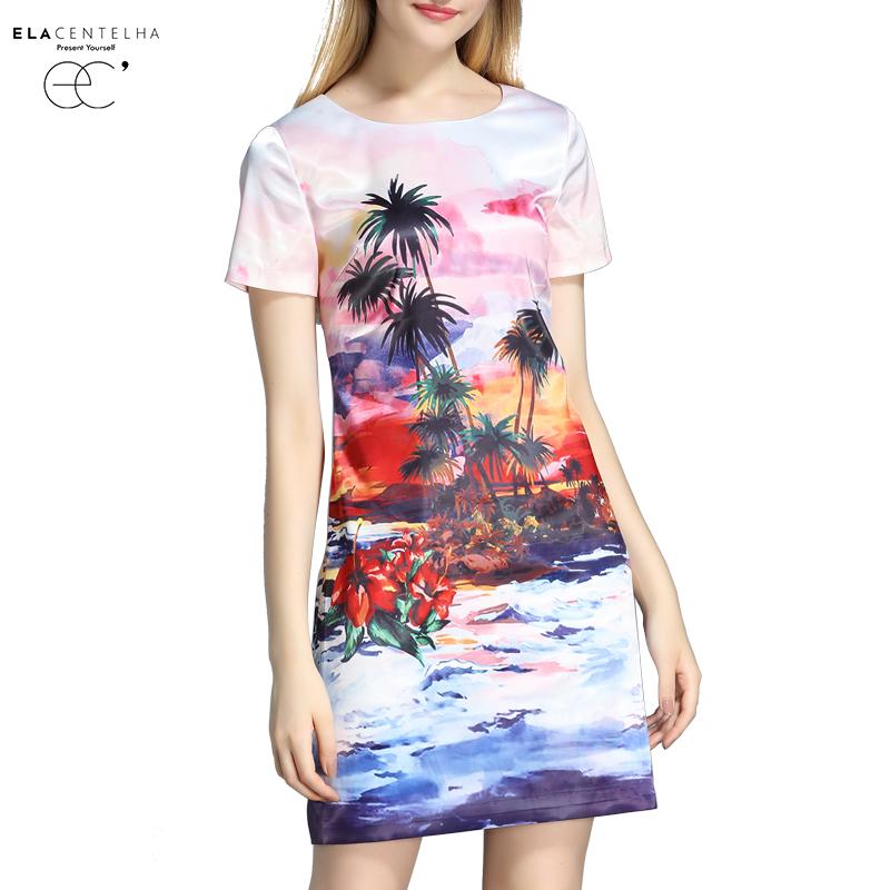 ElaCentelha Women Summer Autumn Fall Dress Luxury Rainforest Floral Print Woman New Short Sleeve O Neck Straight Causal Dresses(China (Mainland))
