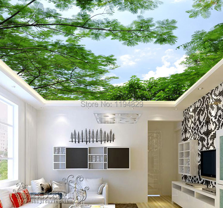 3d nature green tree blue sky ceiling wallpaper tv sitting for Wall designs for living room in india