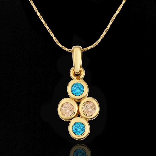 18K Yellow Gold plated fashion jewelry Austria Crystal,rhinestone,CZ diamond,Nickle Free pendant necklace KN642 - fei shao's store