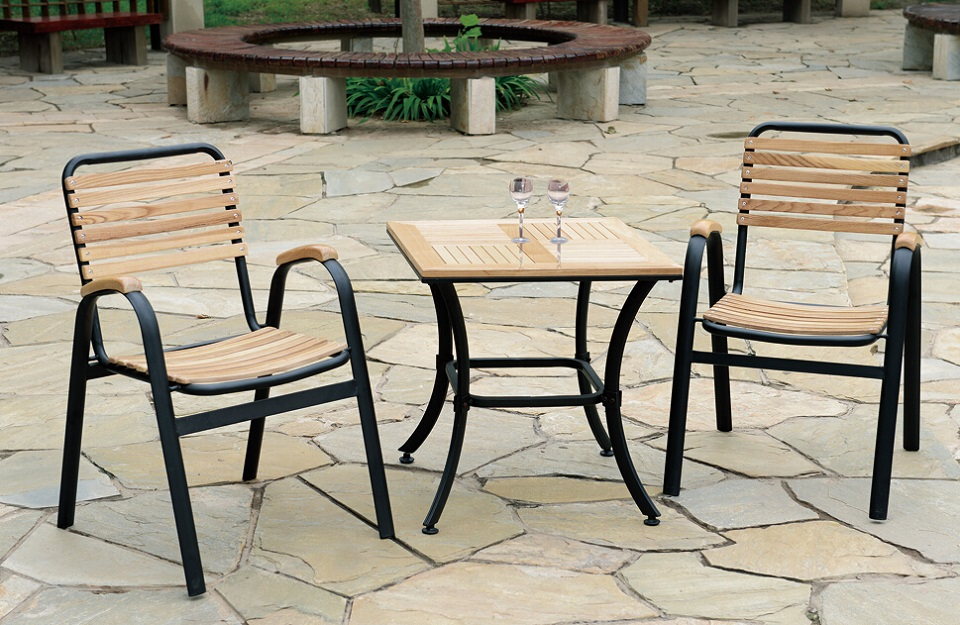 modern outdoor wood dining table set table and chair set