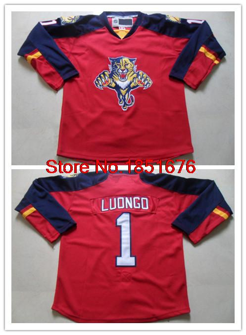 Wholesale 2015 New Florida Panthers Men's Jerseys #1 Roberto Luongo Red Stitched Ice Hockey Jerseys Size 48-56 Free Shipping(China (Mainland))