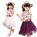 New Girl Princess Dress Costume Girls Dresses Summer 2016 Gauze Floral Dress Kids Clothes Children Clothing