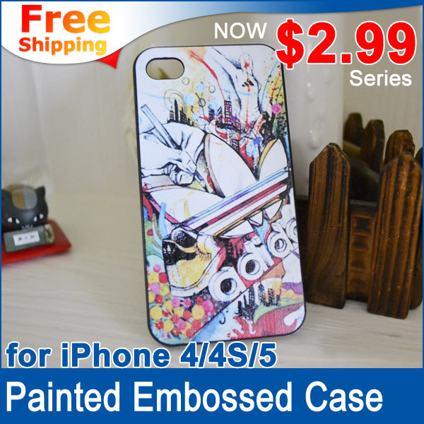 $2.99 series - Sports brand Painted Embossed designs Protective shell Case For iPhone 4 4s 5 Free shipping