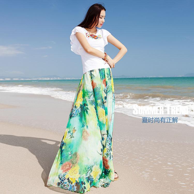 Twods 2015 new chiffon maxi skirts womens top grade 5xl plus szie slim floral print floor