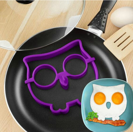 1PC Hot Selling Kitchen Silicone Owl Fried Egg Mold Ring Shaper Novelty Fun Purple Color - cindy beauty shop store