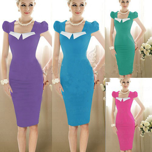 2015 ZA Newest Summer Vestidos Vintage Patchwork Knee Length Work Wear Bodycon Rockabilly Women Casual Pencil Cocktail Party Dre(China (Mainland))
