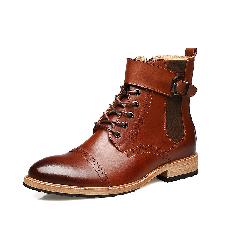Fashion Men Boots Genuine Leather Boots Men Ankle Boots Men Leather Shoes Brogues High Quality<br>