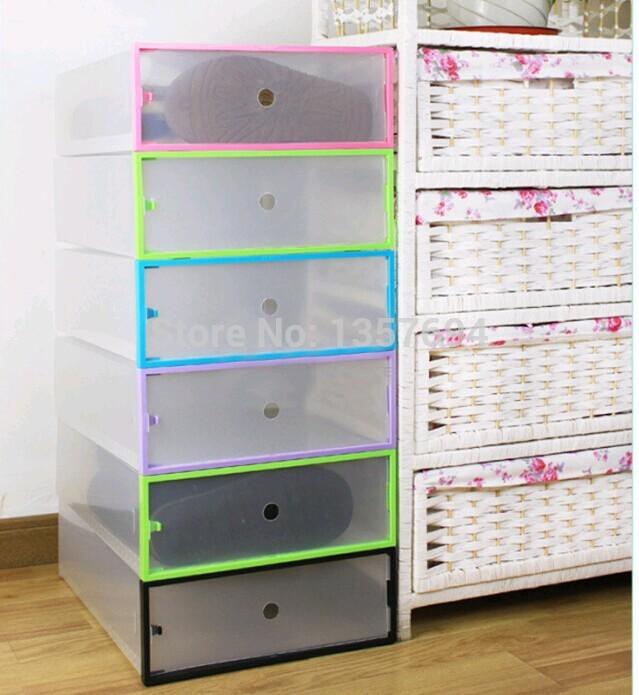 1pcs/lot Simple folding drawer Clear Shoe Storage Box Big Transparent Plastic Color Border Stackable Foldable Holder Long boots(China (Mainland))