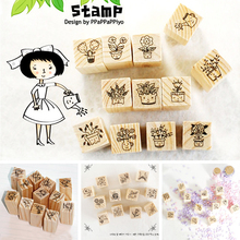 12 pcs/set DIY Cute Sweet Flower Wooden Stamps for Decor Diary Scrapbooking Korean Stationery School Supplies Free shipping(China (Mainland))