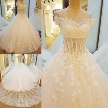 Buy LS0040 Lace Wedding Dresses Appliques Sweetheart Corset Back 3D flowers Bridal Gowns 2017 robe de mariage Real Photos for $665.98 in AliExpress store
