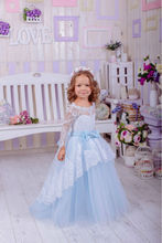 Long Sleeve Blue Lace Flower Girl Dresses for Weddings 2016 Ball Gown Plus Size First Communion For Girls Pageant Dresses FF18(China (Mainland))