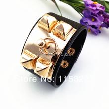 Free shipping 2014 punk steampunk style Metal rivet bracelet leather pulseira e bracelete