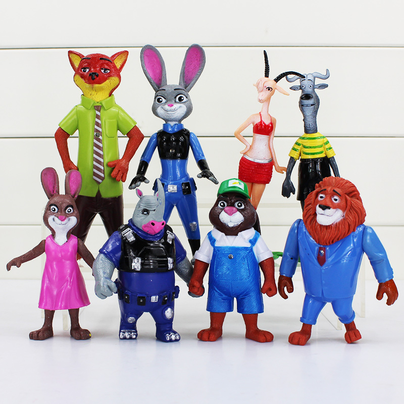 5Sets/Lot 10~15cm Movie Zootopia Nick Fox Judy Rabbit Figure Toy Collection Model Dolls Toys Cute Gift 8Pcs/Set<br>