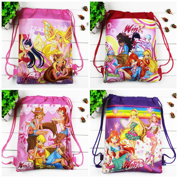 4pcs/lot Winx Children school bags Cartoon Drawstring for Girls,Kids Birthday Party Favor,Mochila escolar,School Kids backpack