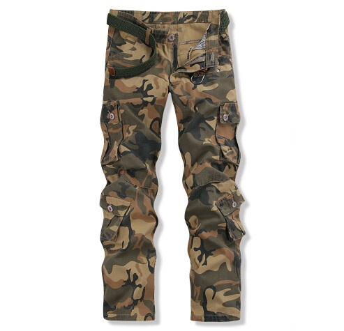 Men Camo Cargo Pants Multi-Pockets Male Cotton Casual Pants Straight Fit Free Shipping (Belt is not included)(China (Mainland))