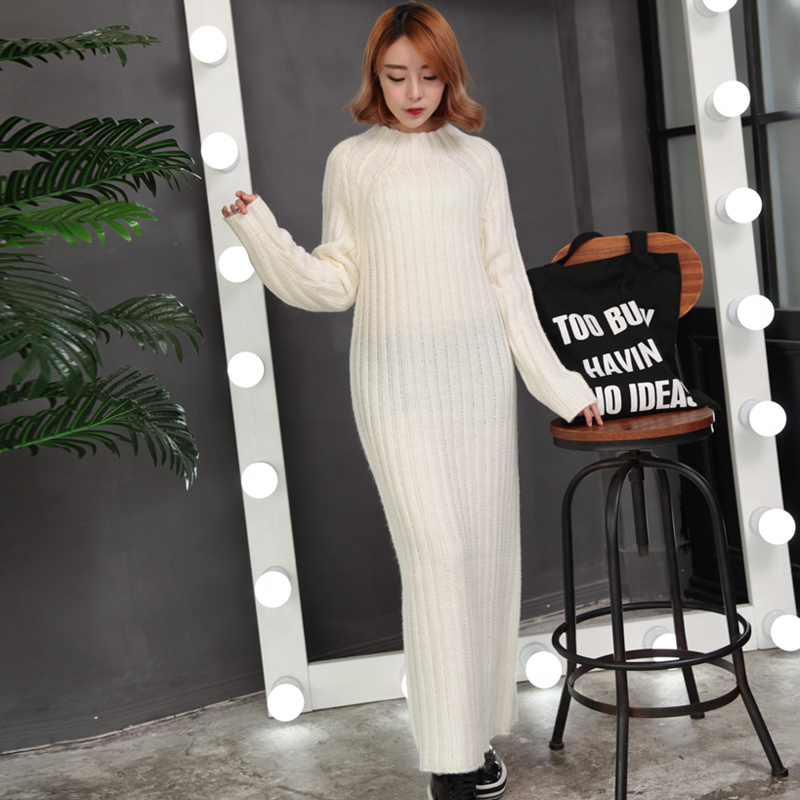 2015 autumn and winter women new arrival big o-neck ultra long paragraph sweater pullover loose basic shirt one-piece dress