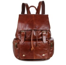 Maxwell High Quality Vintage Unisex Brown Women Men 100% Guarantee Real Genuine Leather Backpack Men Travel Bag #MW-J7249(China (Mainland))