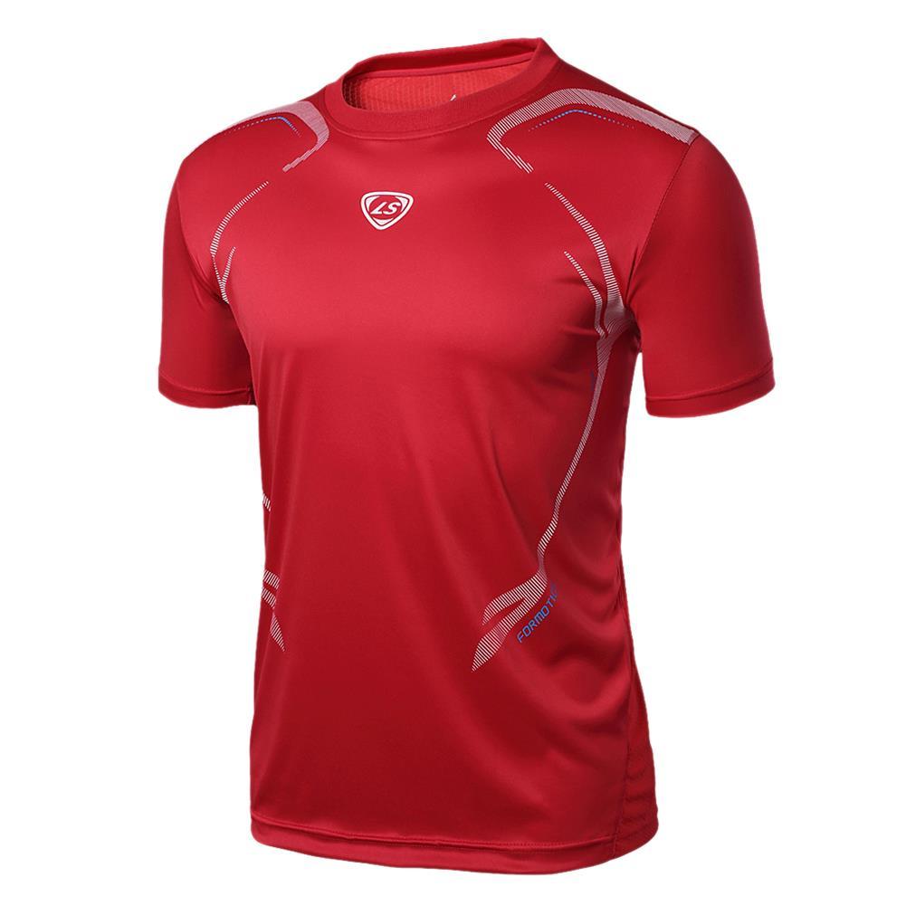 5 x (LUCKY SAILING LS04 Summer Outdoors T-Shirts Tops Slim Fit Sport Shirt O-neck Quick Dry men shirt Red XL(China (Mainland))