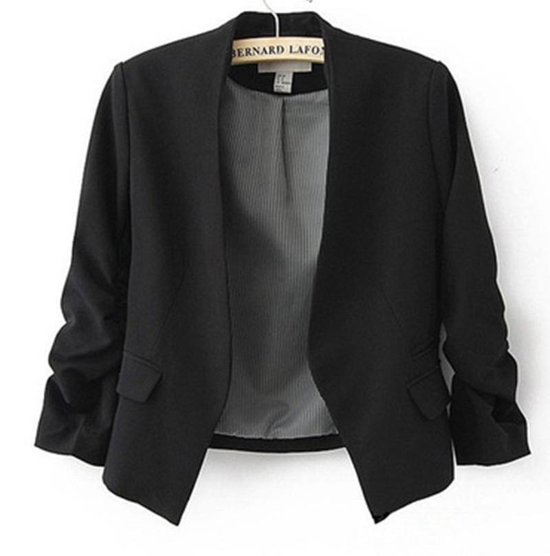 2017 Female Blazer Women Jacket Sleeve Pockets None Button Woman Slim Short Suit Jacket Blazer Blazer Women Candy Color B180