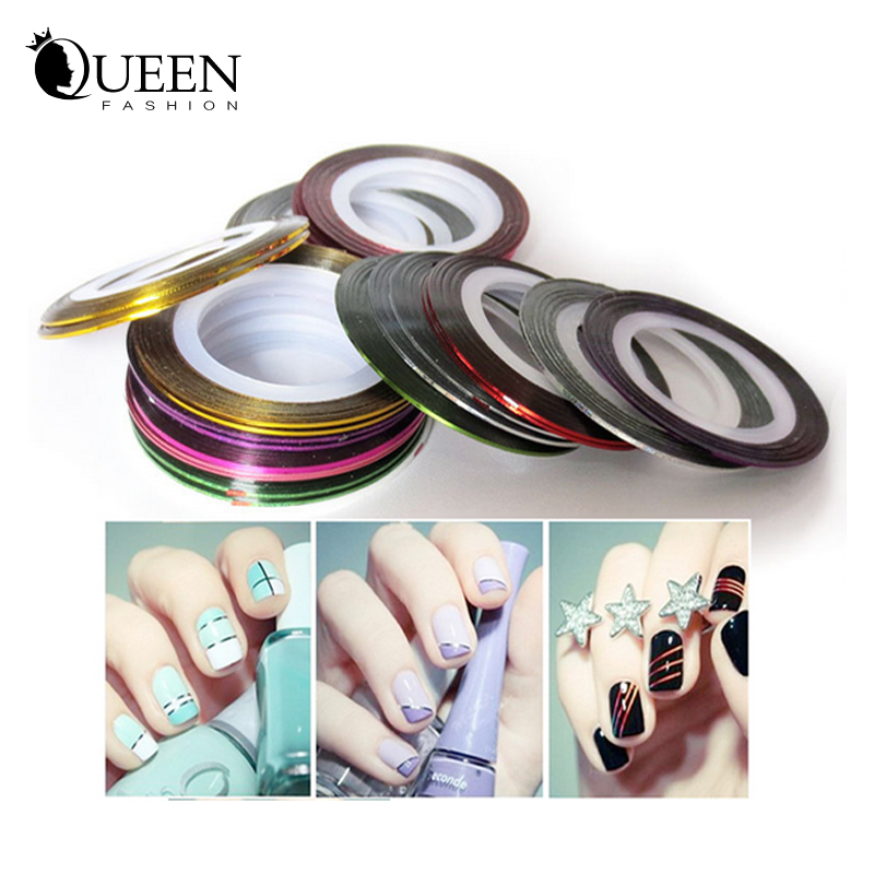 20Designs Striping Tape Metallic Yarn Line Nail Art Stickers Decoration,3d Creative DIY Accessories, Tools - Fashion Queen Accessory Co. , Ltd store