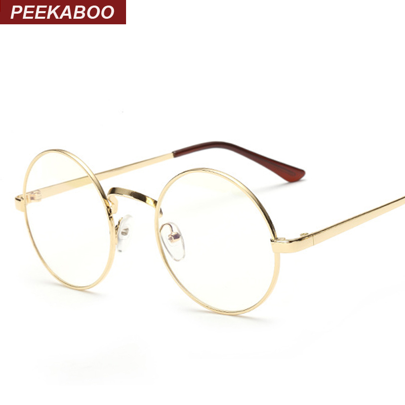 Cheap small round nerd glasses clear lens unisex gold ...