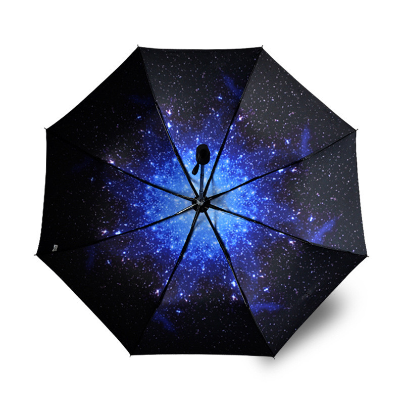 anti uv sun proof umbrella starry sky umbrella 3 folding windproof parasols rain sunscreen. Black Bedroom Furniture Sets. Home Design Ideas