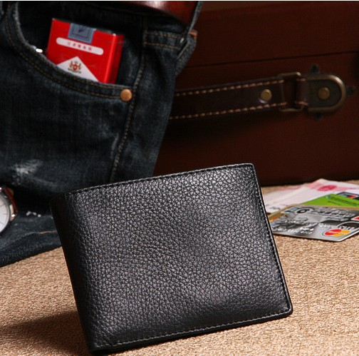 ! New Fashion Black Design Male Cowhide Short Wallet Commercial Genuine Leather Casual Men Wallets C3207 - Fiona's and Bag Store store