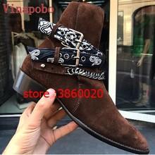 Chelsea boot homem camurça botas de couro apontado dedo do pé fivela casual sapato tornozelo botas de metal tira correntes festa homens botas sapatos muje(China)
